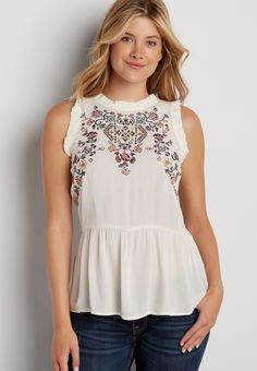 embroidered peplum tank with ruffled hems (original price, $32.00) available at #Maurices
