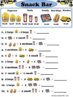 Printables Menu Math Worksheets pets unique and math worksheets on pinterest movie theater snack bar worksheets