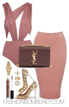 """Untitled #1917"" by dnicoleg ❤ liked on Polyvore featuring Glamorous, Yves Saint Laurent, Christian Louboutin and Rolex"