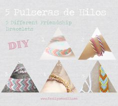 Fácil y Sencillo: DIY - 5 Pulseras de Hilos Diferentes / 5 Different Friendship Bracelets