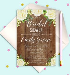 Bridal Shower Invitation Printable Rustic wooden by AlniPrints  #Bachelorette #Bridal #Shower #Invitation #brunch #idea #invite #Lingerie #party #dinner