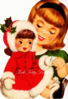 Dolly y en Navidad saludos Vintage tarjeta de por poshtottydesignz