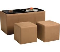 Tan Double Ottoman with Trays $79.00