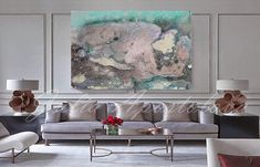 46inch Pastel Wall Art Abstract Watercolor Painting Pastel