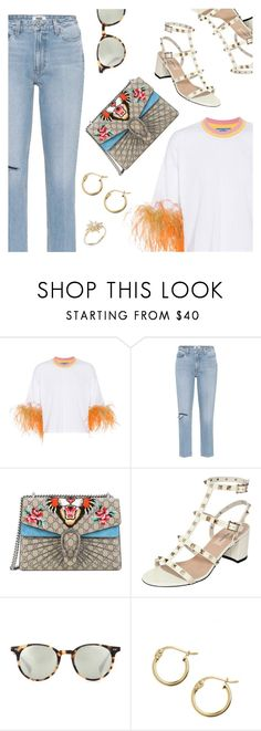 """""""Street Style"""" by dressedbyrose ❤ liked on Polyvore featuring Prada, Paige Denim, Gucci, Valentino, Oliver Peoples, Lord & Taylor, Tai, StreetStyle, ootd and polyvoreeditorial"""
