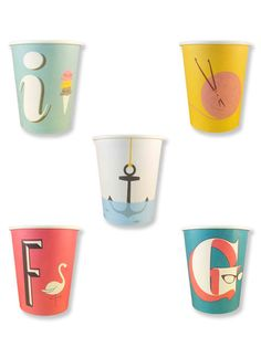 Typography paper cups. You could use these to keep little things in a craft room or something...too cute to use and throw away!