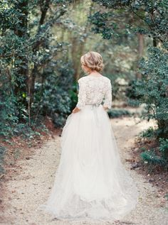 Romantic Lace Bridal Portrait Ideas via oncewed.com Top Wedding Dresses, Wedding Attire, Wedding Gowns, Simple Wedding Dress With Sleeves, Tulle Skirt Wedding Dress, Wedding Wishes, Wedding Bells, Bridal Lace, Bridal Gowns