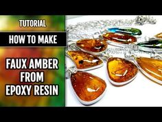 FREE Tutorial. Epoxy Resin Faux Amber cabochons with polymer clay and natural inclusions! - YouTube
