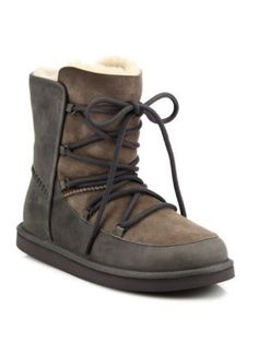 UGG Lodge Shearling & Suede Lace-Up Boots. #ugg #shoes #flats