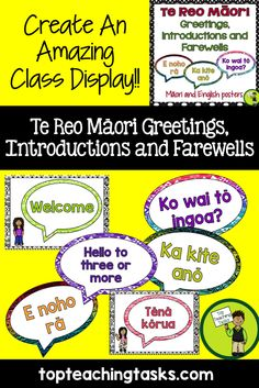 Brighten up your classroom while teaching Te Reo with these Te Reo Māori Greetings, Introductions and Farewells Posters.  These posters come in both English and Te Reo Māori.  These feature 16 Te Reo Maori greetings, introductions, and farewells.   Available from www.topteachingtasks.com
