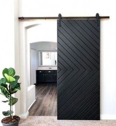 This Custom Made Modern Chevron style sliding barn door will be a great addition to your home! Replace your existing doors or add one where there isn't a door! This door also make a great wall decor if you don't have any area for a sliding Ux Design, Home Design, Modern Interior Design, Modern Decor, Contemporary Interior Doors, Coastal Interior, Luxury Interior, Modern Rustic, Studio Apartments