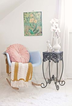 Gorgeous vintage-y bedroom (At Home with Janae Hardy on www.abeautifulmess.com )