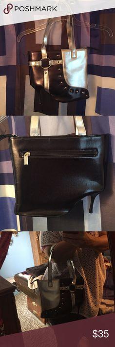 Black & Silver Heel Purse  Unique purse! Excellent condition! No defects inside or out. Zipper excellent condition. No marks in the inside lining. One zipper pocket inside Bags Shoulder Bags