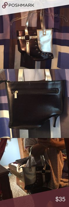 Black & Silver Heel Purse  Unique purse! Excellent condition! No defects inside or out. Zipper excellent condition. No marks in the inside lining. One zipper pocket inside Bags Shoulder Bags
