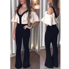 Ruffle Sleeve Mixed Color V Neck Jumpsuit Look perfectly chic yet totally on-trend in this,at Whatwears we offer our customers a wide range of jumpsuits. Jumpsuit Outfit, Dress Outfits, Casual Outfits, Fashion Dresses, Cute Outfits, White Jumpsuit, Casual Jumpsuit, Office Outfits, Beautiful Outfits