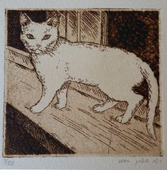 White Cat  Etching 9/9 cm by Shulmans on Etsy