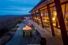 The main deck at Rhino Ridge Safari Lodge overlooking the lovely Hluhluwe iMfolozi Park in Kwazulu Natal, South Africa Maine, Game Lodge, Private Games, Kwazulu Natal, Game Reserve, African Safari, Africa Travel, Lodges, South Africa