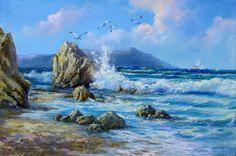 levkonoe | Recent Entries Seascape Paintings, Landscape Paintings, Sea Pictures, Water Art, Sea Art, Impressionist Art, Strand, Canvas Art, Beach Portraits