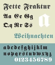 """Fette Fraktur is a blackletter typeface of the sub-classification Fraktur designed by the German punchcutter Johann Christian Bauer in 1850. Bringhurst notes that the Victorian """"fat face"""" works well here."""