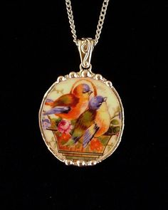 Broken china jewelry necklace pendant by dishfunctionldesigns