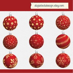 Christmas Red Ornaments Clipart. Christmas by digistockdesign