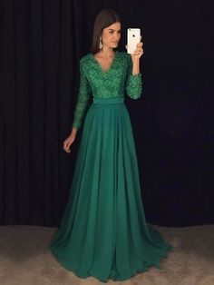 Beautiful A-line V-neck Chiffon with Appliques Lace Sweep Train Long Sleeve Prom Dresses