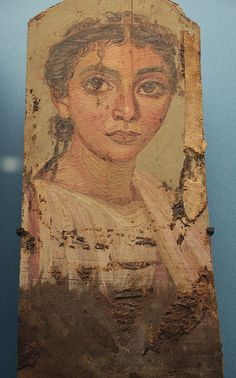 Mummy portrait on wooden tablet of a woman, from Fayum, c. AD 150, National Museum of Denmark, Copenhagen  Roman period