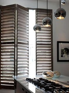 Wood Window Shutters for Your Home Interior Design by Kelly Hoppen Kitchen Shutters, Interior Shutters, Wood Shutters, Window Shutters, Interior Exterior, Home Interior Design, Kitchen Windows, Modern Shutters, Window Curtains