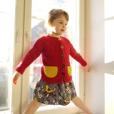 KuDum: Hand Knitted Children Sweater - Chunky Raspberry Cardigan - accent yellow pocket - seamless knit - OOAK. €67.00, via Etsy.