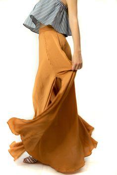 High Waisted Silky Burnt Orange Skirt