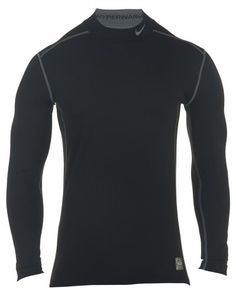 6cbe4786 Men's Nike Pro Combat Hyperwarm Dri-FIT Max Fitted Shirt Black/Grey Size  Large
