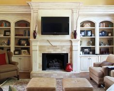 Love the arch bookcases and the thickness of the moldings. I adore the neutral subway tile..