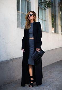 Native Fox: Grey Crop Top + Skirt + Black Floor Length Coat