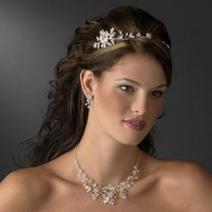 Crystal and Rhinestone Floral Headband and Jewelry Set for the bride - Affordable Elegance Bridal -