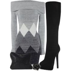 """Sweater Dress & Knee-High Boots"""