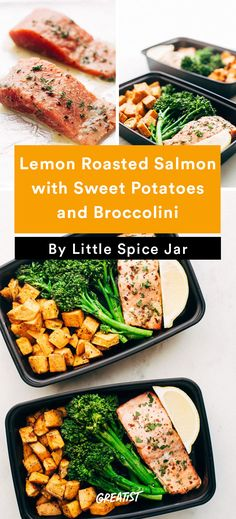 2. Lemon Roasted Salmon With Sweet Potatoes and Broccolini #Greatist http://greatist.com/eat/healthy-lunch-recipes-that-make-meal-prep-easy
