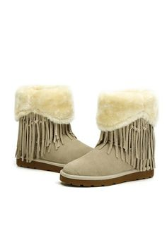 Sweet Round Toe Tasseled Snow Boots