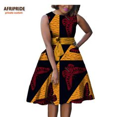 Online Shop 2019 autumn women african dress AFRIPRIDE private custom sleeveless knee-length A-Line pleated casual dress pure cotton African Dresses Plus Size, Short African Dresses, Latest African Fashion Dresses, African Print Dresses, African Print Fashion, African Fashion Traditional, Style Africain, Africa Dress, Vestido Casual