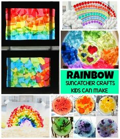 Easy rainbow suncatcher crafts kids can make for spring! These simple hands on preschool rainbow activities are easy and fun! Perfect for color and spring lesson plan units! #kidsactivities #rainbow #springcrafts #kidcrafts