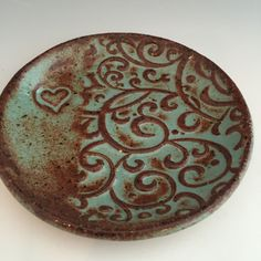 Ceramic Heart Ring Dish Trinket Dish Spoon by CeciCapenClayStudio