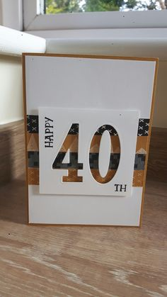40th birthday card, Stampin Up Number of Years stamp set & framelits, True Gentleman DSP