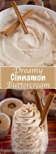 icing frosting A light, fluffy, and dreamy Cinnamon Buttercream Frosting. Perfect for frosting cakes, cupcakes, and more! Cinnamon Buttercream Frosting Recipe, Icing Frosting, Cheesecake Frosting, Fluffy Frosting, Frosting Tips, Buttercream Cake, Cupcake Recipes, Cupcake Cakes, Candy