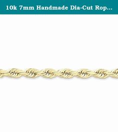10k 7mm Handmade Dia-Cut Rope Chain. This adds a sense of charm to your favorite collection.10k 7mm Handmade Diamond-cut Rope Chain. Model No.: 10K050-22. 10k Yellow Gold. Product Type: Jewelry. Chain Type: Rope Chains. Jewelry Type: Necklaces. Material: Primary: Gold. Material: Primary - Color: Yellow. Material: Primary - Purity: 10K. Sold By Unit: Each. Chain Length: 22 in. Chain Width: 7 mm. Got questions about this item? If you wish to know any additional info or have any additional...