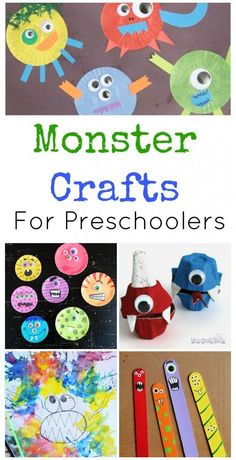 A huge collection of adorable, non-scary Monster Crafts for Preschoolers, perfect for Halloween