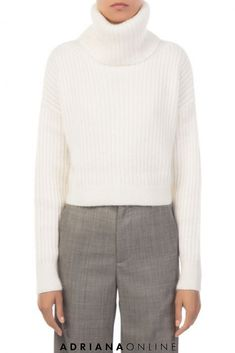 Mohair-wool blend cropped sweater in Antique White. Features oversized turtleneck, long sleeves and ribbed knit. Model is and is wearing a size XS. Cold Day, Fall Wardrobe, 3.1 Phillip Lim, Cropped Sweater, Wool Blend, Fall Outfits, Turtle Neck, Clothes For Women, Long Sleeve