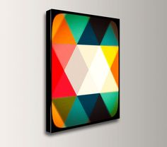 "Geometric Art - 24x36 Canvas - Mid Century Modern Canvas - Abstract Design - ""Crystalline"""