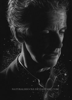 This person does GORGEOUS art. White and grey coloured pencils and white gel pen on black paper. Doctor Who Fan Art, Portrait Au Crayon, Best Sci Fi Shows, 12th Doctor, Twelfth Doctor, Black Paper Drawing, Best Pencil, White Gel Pen, Black And White Painting