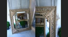 Imposing 19c carved oak mirror with mirrored side panels.