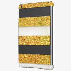It's cute! This Girly Gold Glitter Black White Stripes Pattern iPad Air Covers is completely customizable and ready to be personalized or purchased as is. Click and check it out!