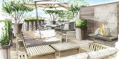 Terrazas de estilo translation missing: mx. Landscape Architecture Drawing, Landscape Sketch, Landscape Drawings, Landscape Plans, Interior Architecture, Landscape Design, Garden Design, Interior Design Sketches, Garden Drawing